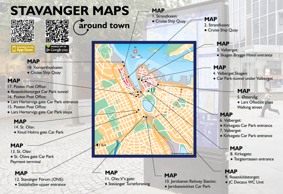 Stavanger Maps around town