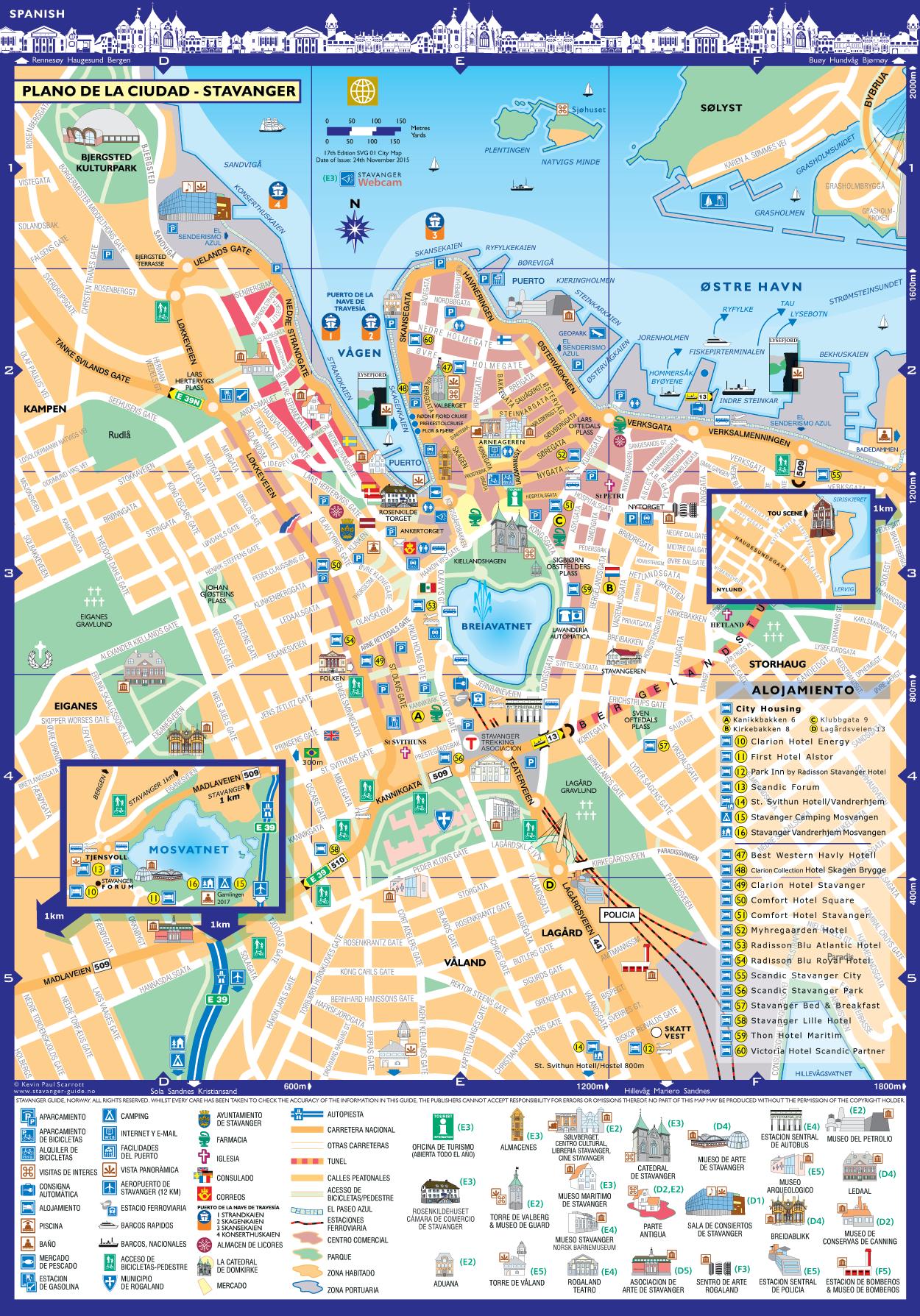Stavanger Plano de la Ciudad