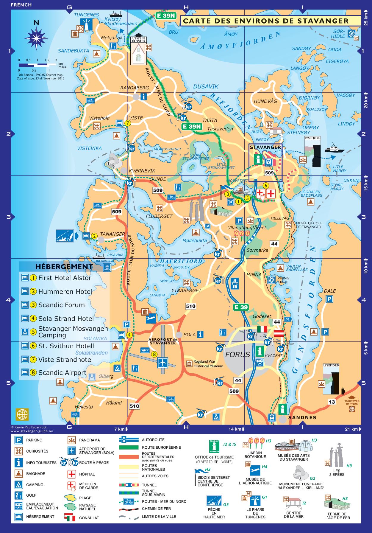 Carte des environs de Stavanger
